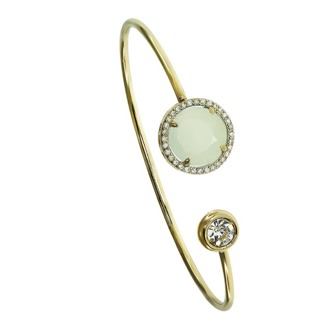 Light Green Crystal Faceted Circle Wire Cuff Bracelet