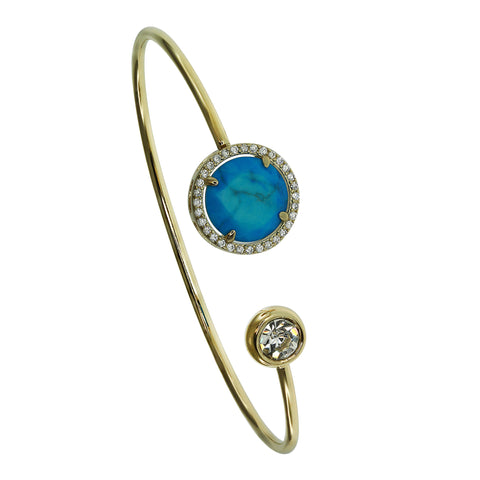 Turquoise Faceted Circle Wire Cuff Bracelet