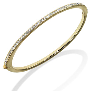 1-Row 18K Gold Plated Clear Pave Crystal Hinged Bangle Bracelet