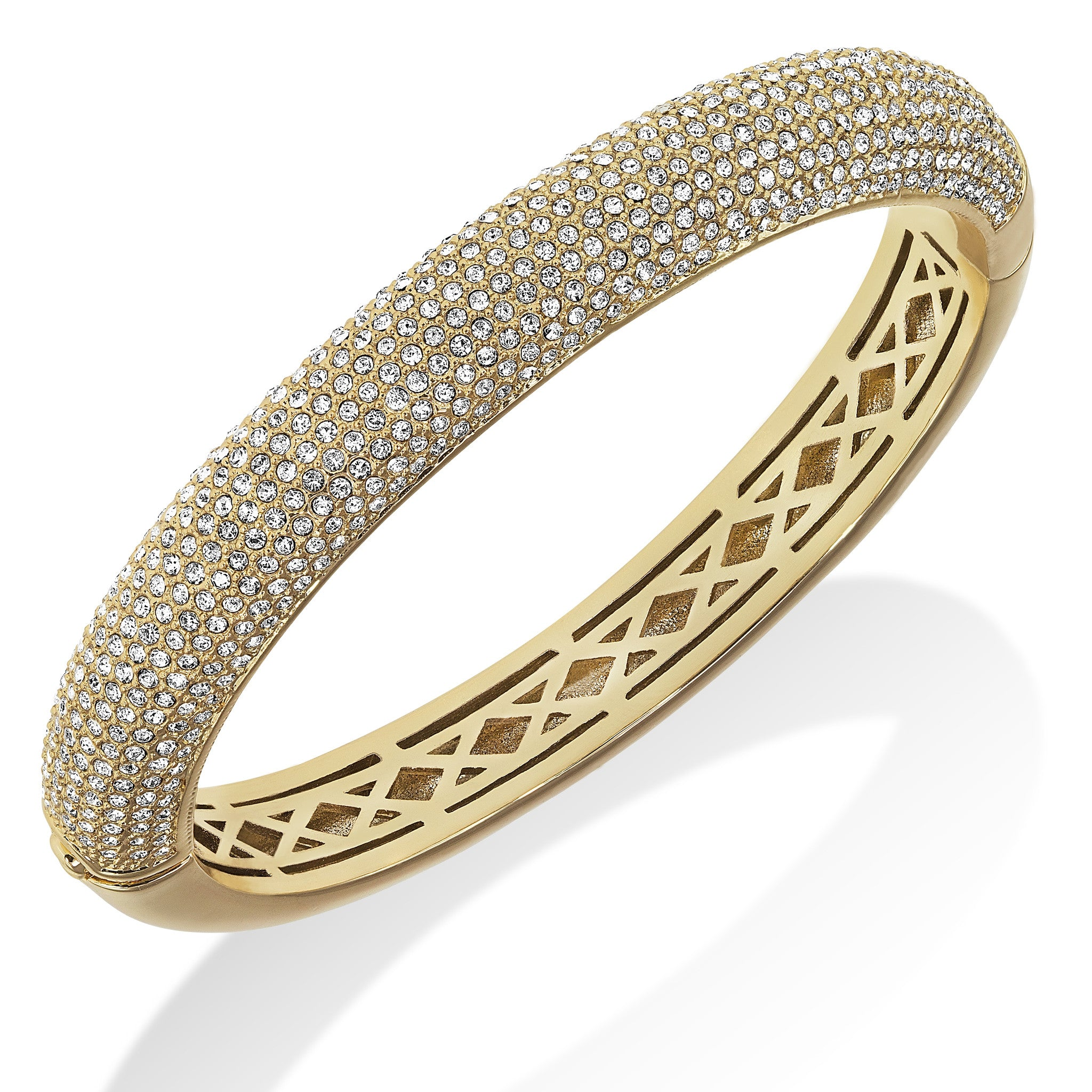 dewdrop bangles pave jewelry gold bangle de lyst s white diamond women beers