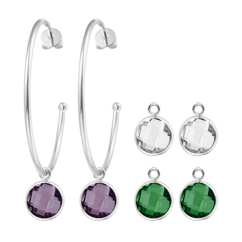 """Four Ways to Charm"" Rhodium Plated Charm Set More Colors"