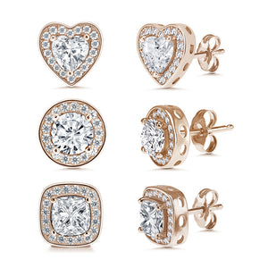 """Three ways to Glam"" 18K Silver / Rose Gold Platied over  Sterling Silver 2-2.5ct Set of 3 Post Earrings"