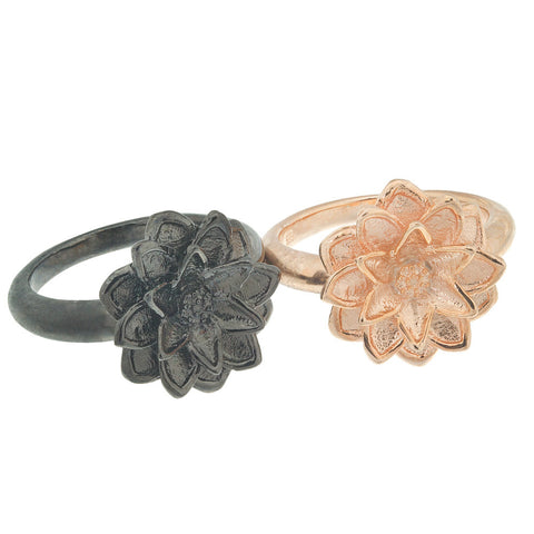 Set Of Two, Two-Tone, 18K Rg And Black Rhodium Plated Sterling Silver Lotus Flower Rings