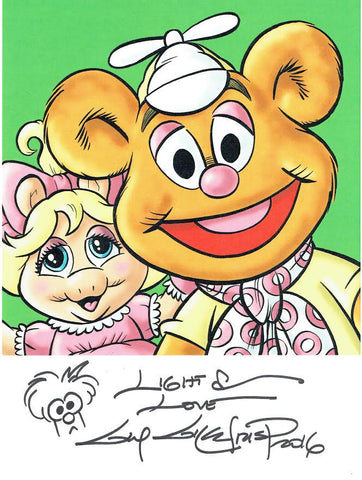 Muppet Babies signed print with hand drawn Beaker