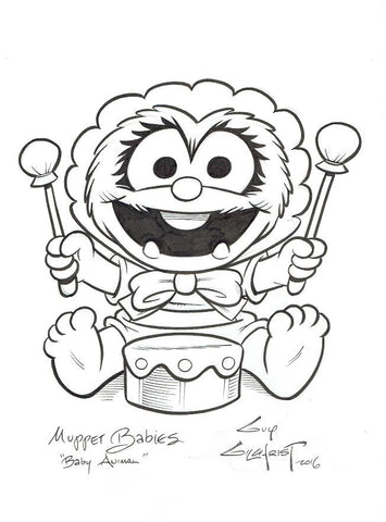 Muppet Baby Animal 9x12 Sketch