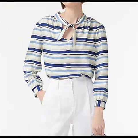 NEW J Crew Silk Blue Striped Tunic