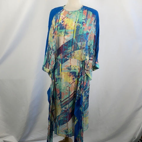 NEW BCBG Blue Multi Print Dress