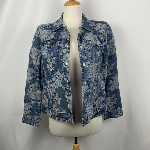 NEW Chicos Floral Denim Jacket