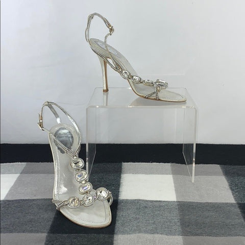 Rene Caovilla Crystal Ankle Strap Heels