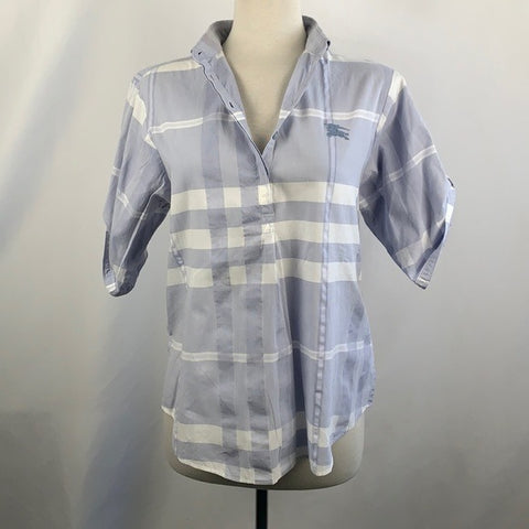 Burberry Light Blue Plaid Top