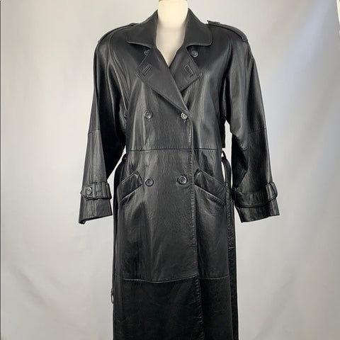 Black Leather Vintage Trench Coat with Belt