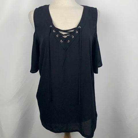 INC Black Open Shoulder Top