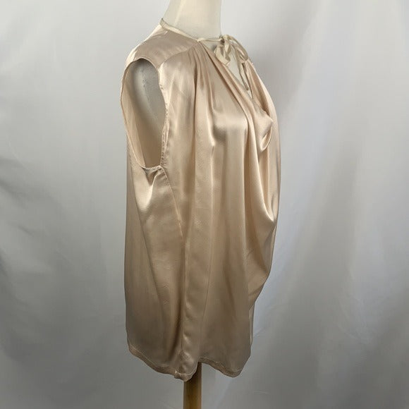 Hartley Blush Drape Neck Top Silk with Belt