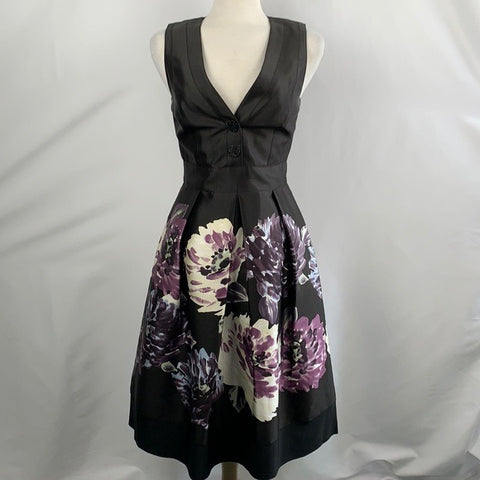 Kay Unger Black with Purple Floral Print Dress