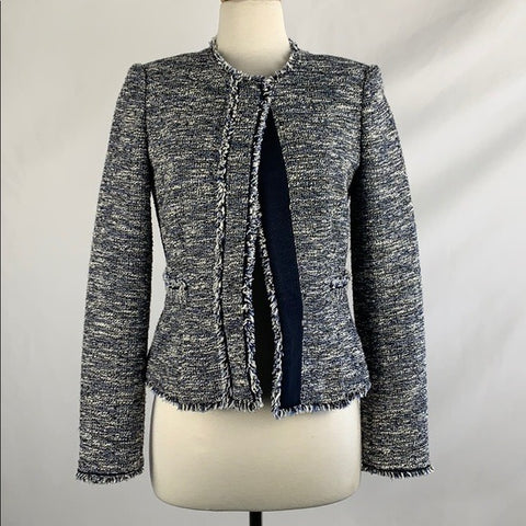 Ann Taylor Boucle In Multi Blue Print Jacket