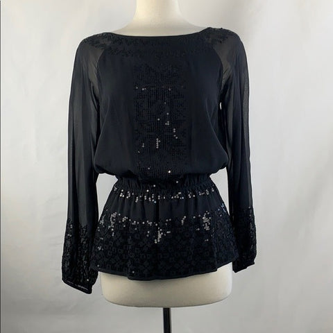 NEW St Johns Black Sequined Silk Blouse