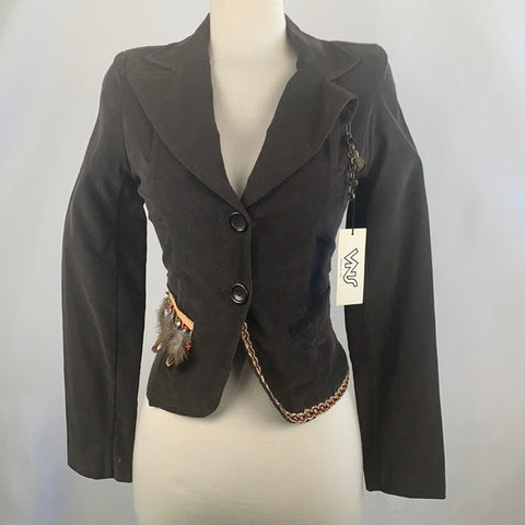 NEW VNS Brown Beaded Trim Jacket