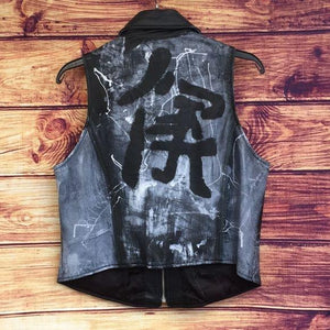 Hand-painted Vintage Black Leather Zip Up Vest