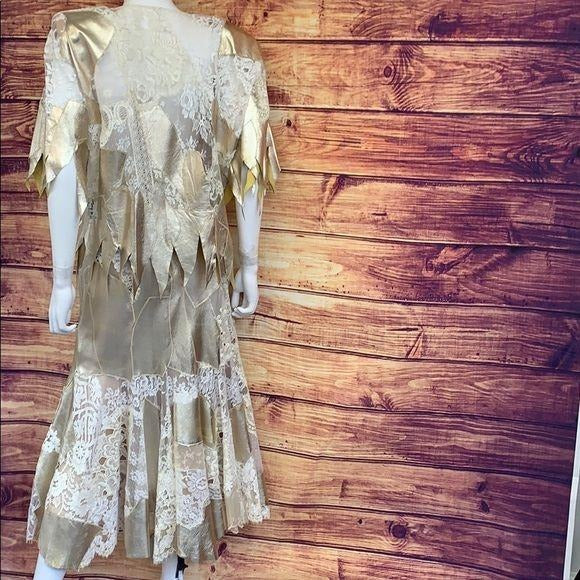 Vintage 80's Gold Leather Lace Jacket and Skirt