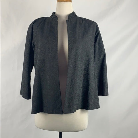 Eileen Fisher Embroidery Gray Open Jacket