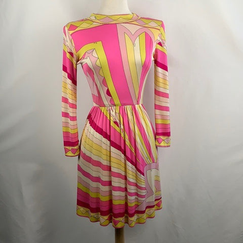 VINTAGE Emilio Pucci Pink and Yellow Mock Neck