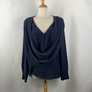 St John Navy Drape Neck Top