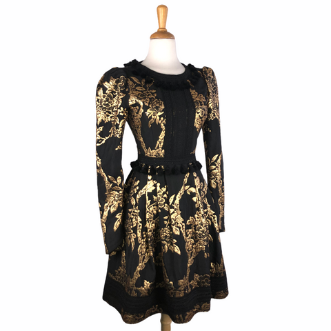 Andrew GN Black & Gold Brocade Tassel Dress