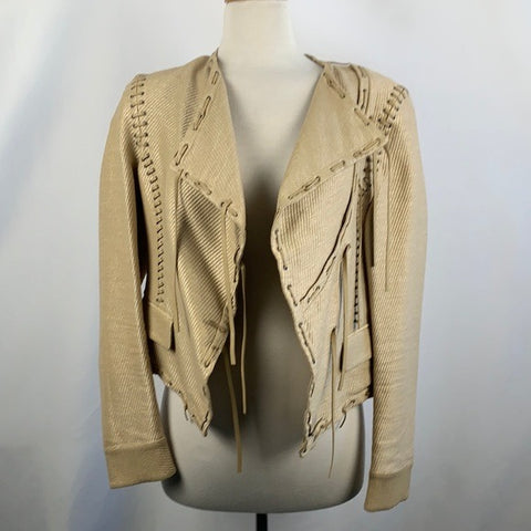 Salvatore Ferragamo Tan Leather Whip Stitch Jacket