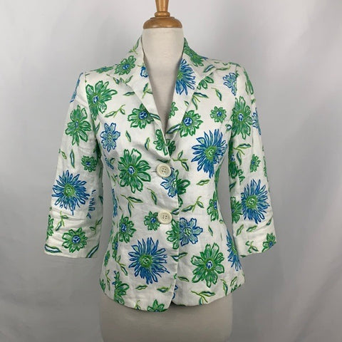 Lafayette 148 Green and Blue Floral Jacket