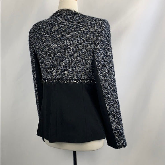 Escada Blue Tweed Black Zip Front