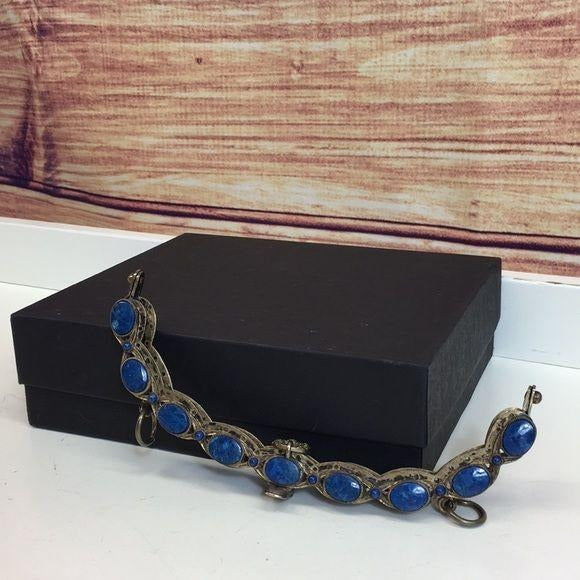 RARE Vintage Lapis Blue Jeweled Purse Frame