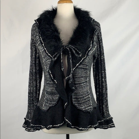 Neiman Marcus Black and White with Faux Fur Trim