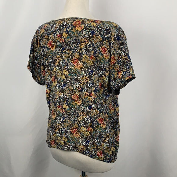 Multi Floral Print Top with Pockets