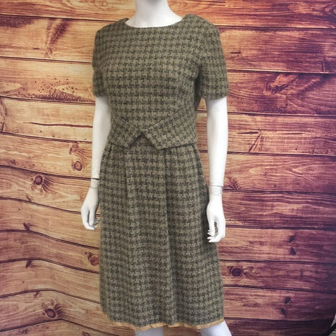 Vintage 1940's Cap Sleeve Wool Knee Length Dress
