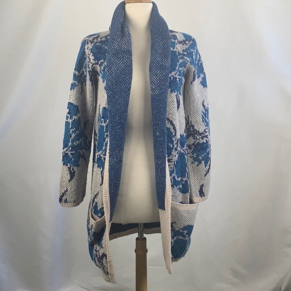 Free People Blue Floral Cardigan