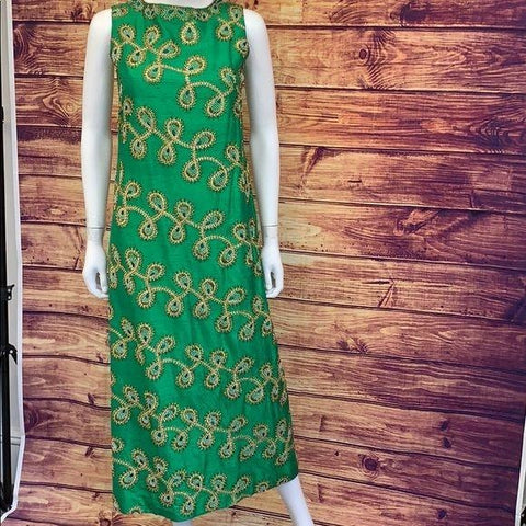 Vintage Lord & Taylor Raw Silk Beaded Green Dress