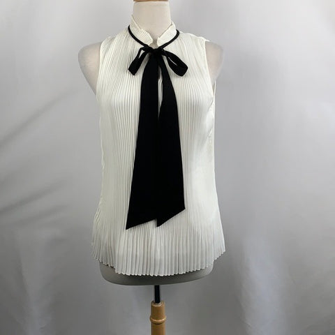 DKNY Cream Pleat Blouse with Black Bow