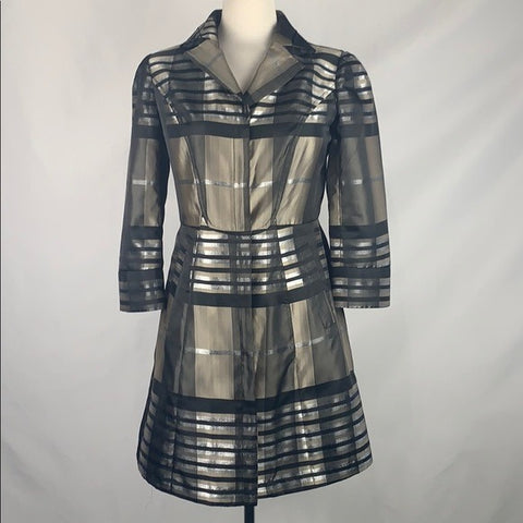 Chanson Pewter Silver Plaid Satin Fit Flare