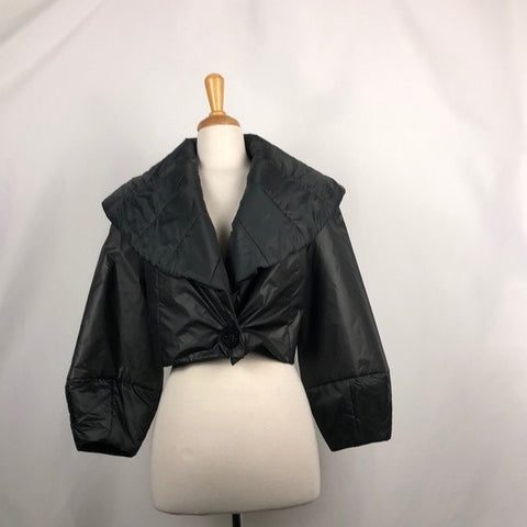 77 Black Cropped Puffer Jacket