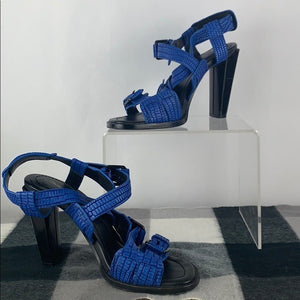 Blue Textured Strappy Sandals Philippe Lim