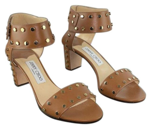 Jimmy Choo Tan Gold Studded Ankle Strap Heels