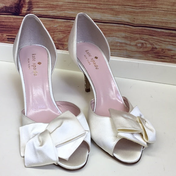 Kate Spade Champagne Ivory Satin Bow Heel with Gold