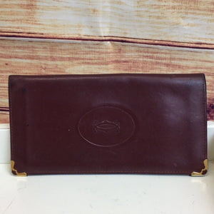 Vintage Cartier Oxblood Soft Leather Bifold Wallet