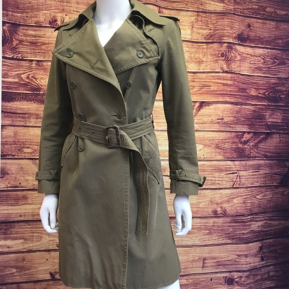 Vintage Saint Laurent Olive Cotton Trench Coat