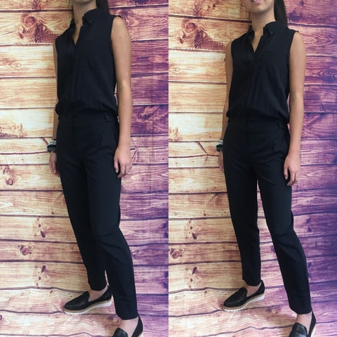 Theory Black Sleeveless Collared Jumpsuit