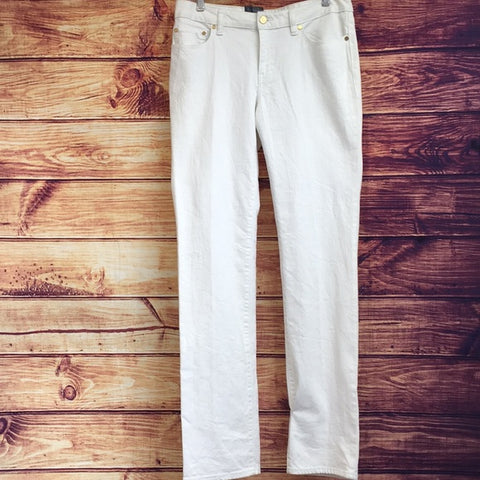 Tory Burch Mid Rise White Straight Leg Jeans