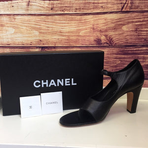 Chanel Black Ankle Strap Thong Leather Heels