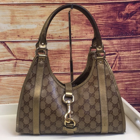 Gucci Gold GG Monogram Jackie Coated Canvas Bag
