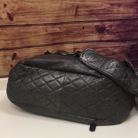 Jimmy Choo Quilted Pewter Becca Biker Flapover Bag