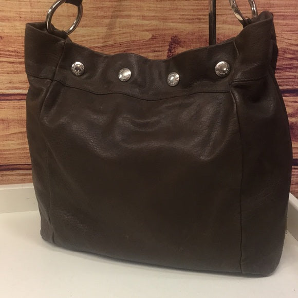 Prada Brown Leather Snap Close Shoulder Bag